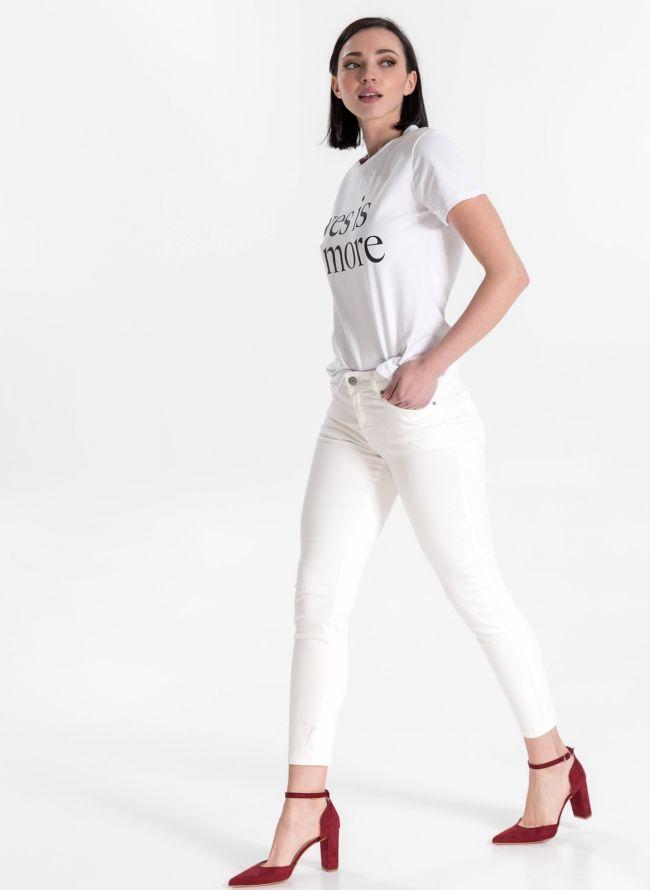 Ντένιμ παντελόνι με χρώμα - Λευκό