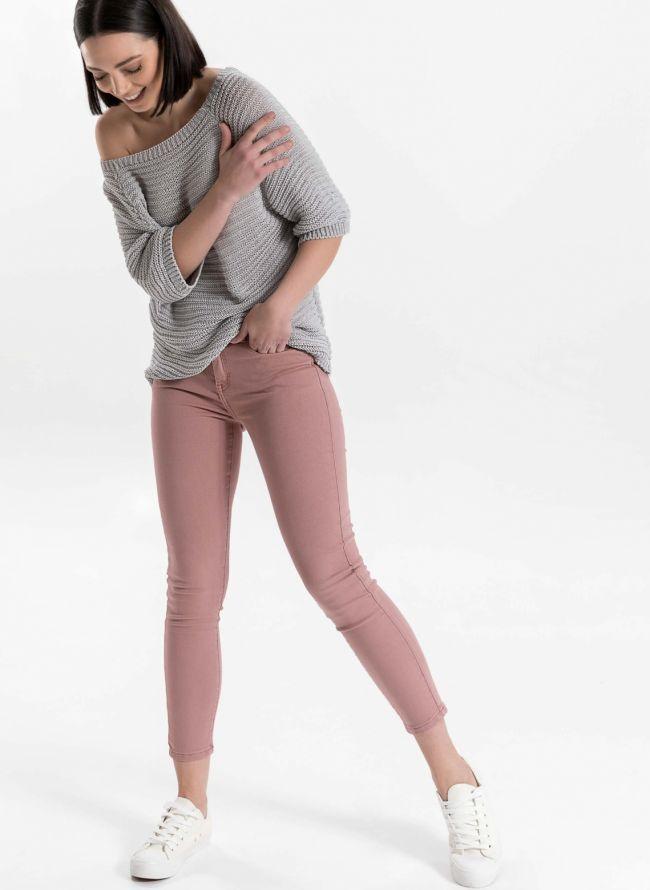 Ντένιμ παντελόνι με χρώμα - Ροζ