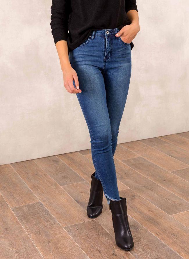 Ψηλόμεσο skinny fit παντελόνι - Μπλε jean