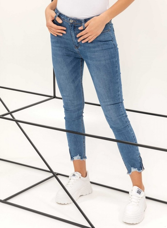 Ψηλόμεσο τζιν με φερμουάρ στα πατζάκια - Μπλε jean a60495d02cc