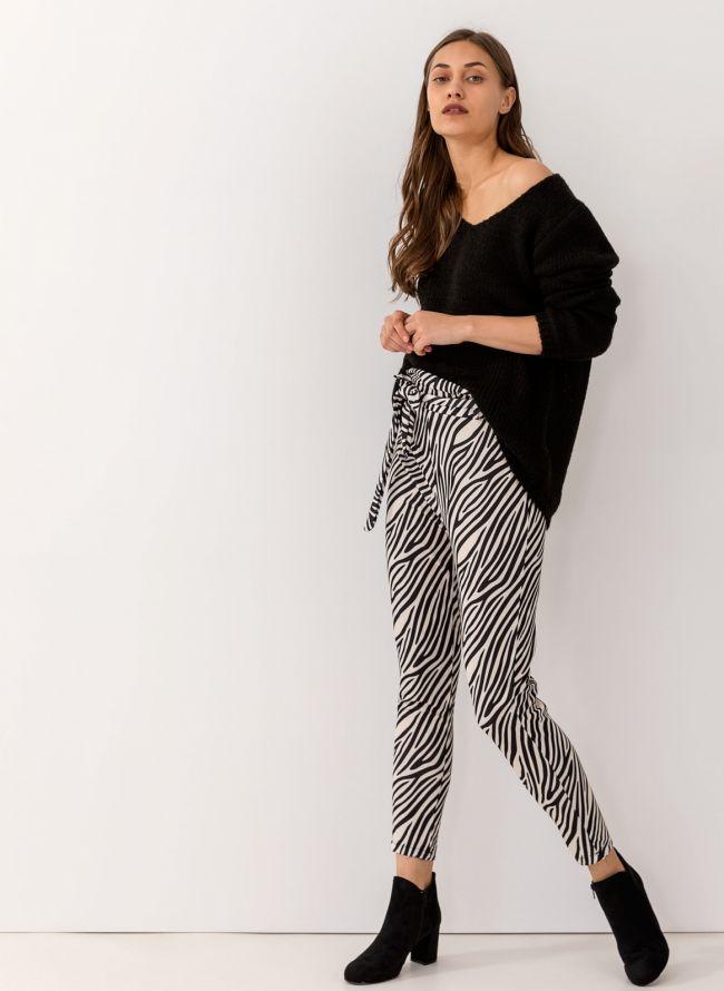 Ψηλόμεσο zebra pattern παντελόνι με λάστιχο στη μέση - Λευκό Μαύρο cdce1e507ba