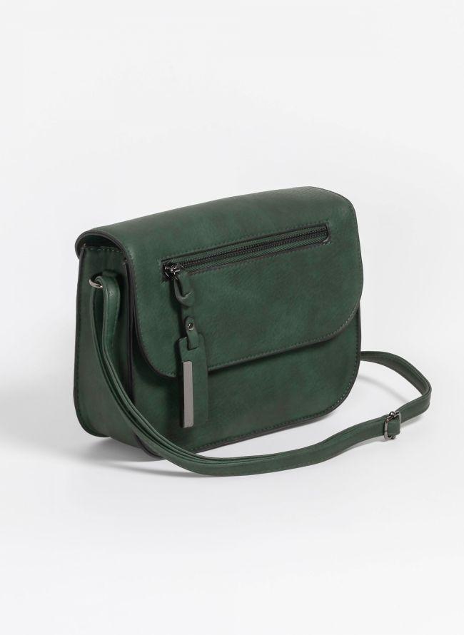 Ρετρό χιαστί τσάντα με καπάκι και charm - Κυπαρισσί - TheFashionProject 339e5e6448c