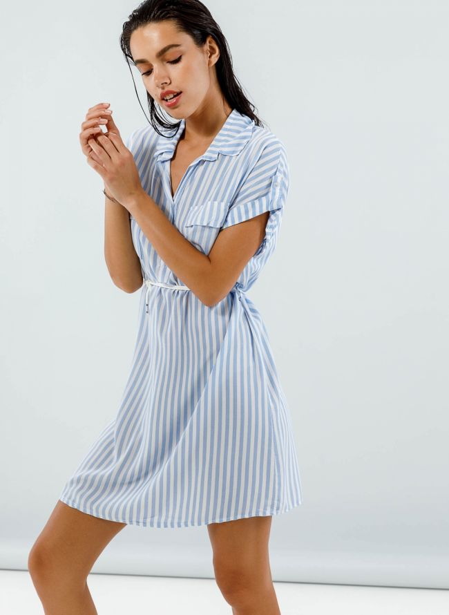 Ριγέ φόρεμα με κουμπιά - Γαλάζιο
