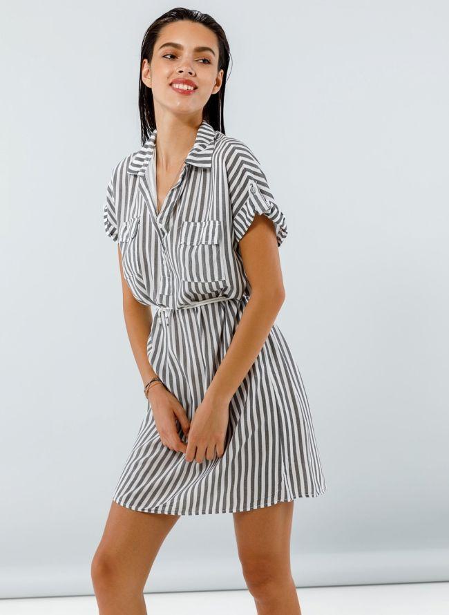 Ριγέ φόρεμα με κουμπιά - Ανθρακί