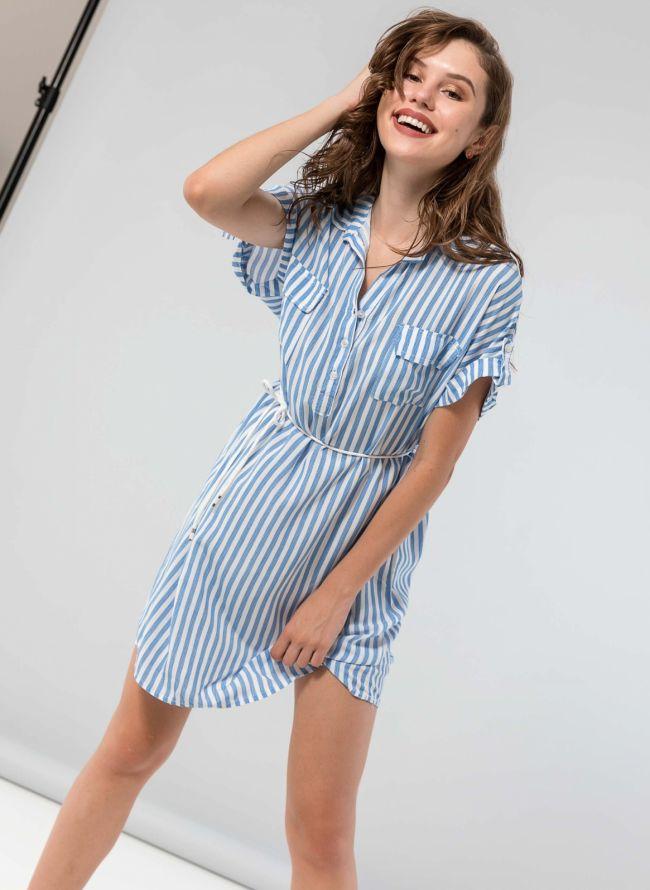 Ριγέ φόρεμα με κουμπιά - Μπλε