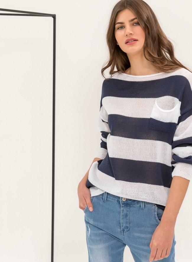 Ριγέ μπλούζα με αραιή πλέξη και τσεπάκι - Μπλε σκούρο ab0371b3268