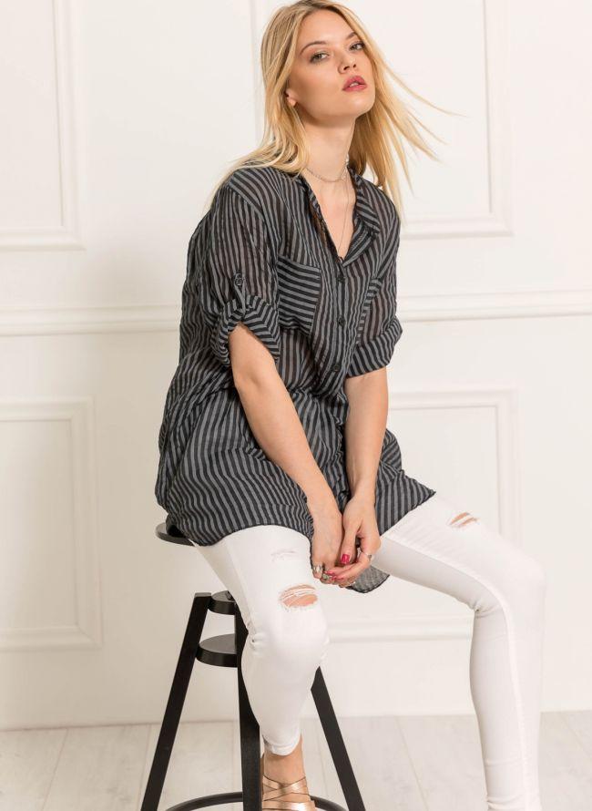 Ριγέ πουκάμισο με δύο τσέπες - Μαύρο
