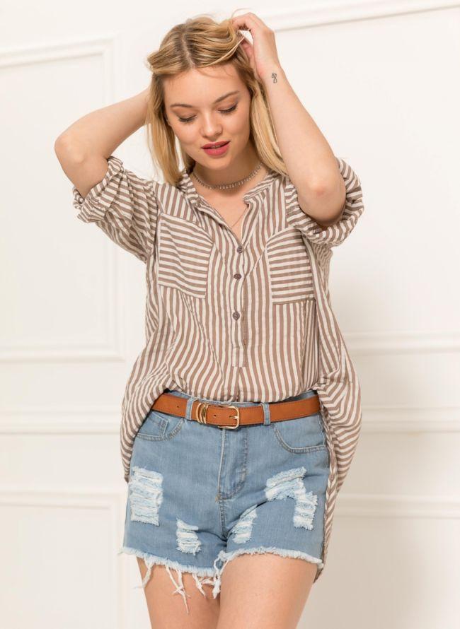 Ριγέ πουκάμισο με δύο τσέπες - Πούρο