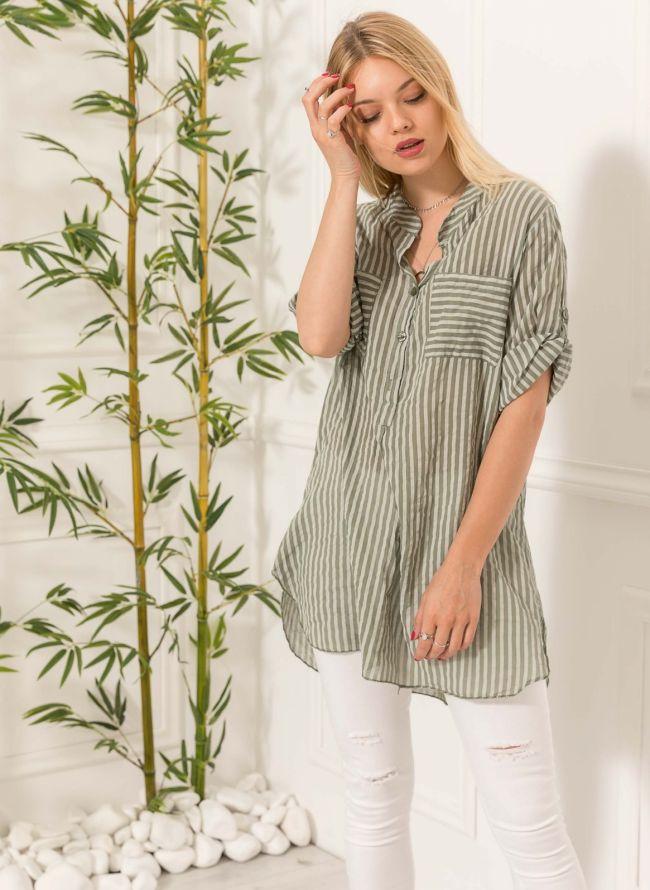 Ριγέ πουκάμισο με δύο τσέπες - Χακί