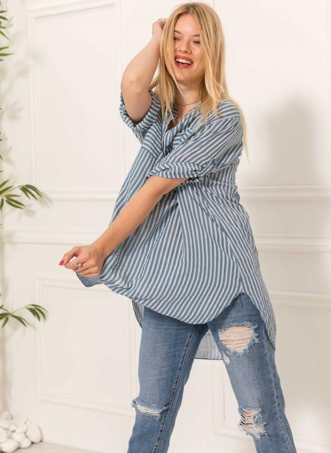 Ριγέ πουκάμισο με δύο τσέπες - Μπλε
