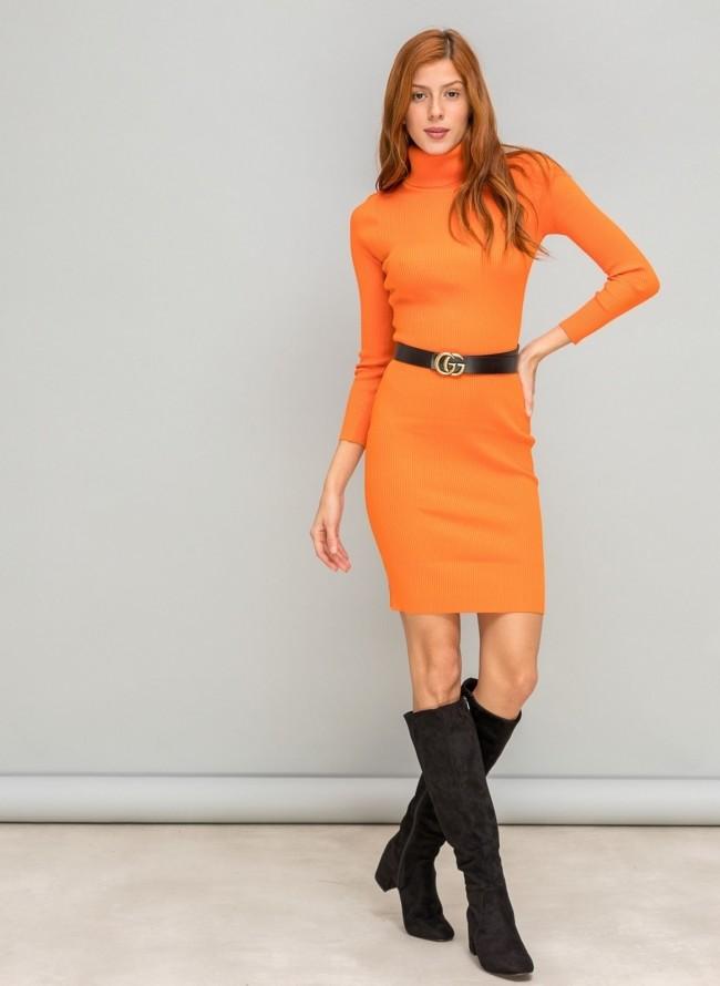 Ριπ εφαρμοστό φόρεμα με ζιβάγκο - Πορτοκαλί a452b57d117
