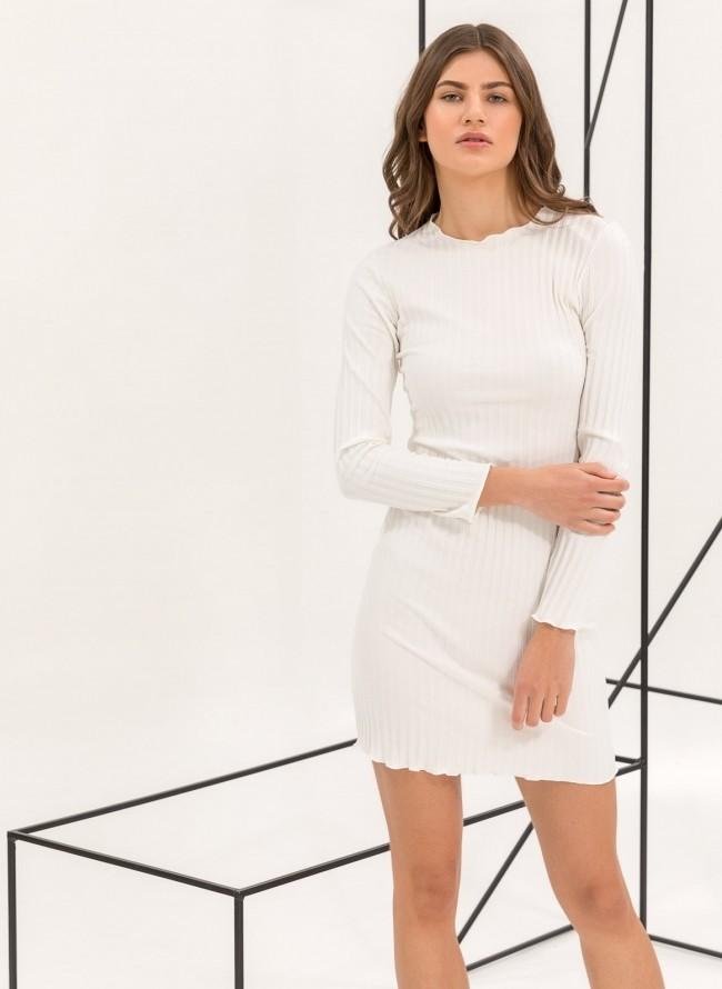 bbace966cf82 Ριπ εφαρμοστό midi φόρεμα - Λευκό