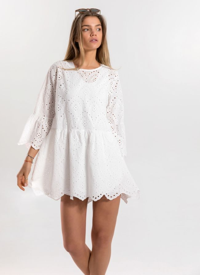 Ρομαντικό φόρεμα με μανίκι καμπάνα - Λευκό