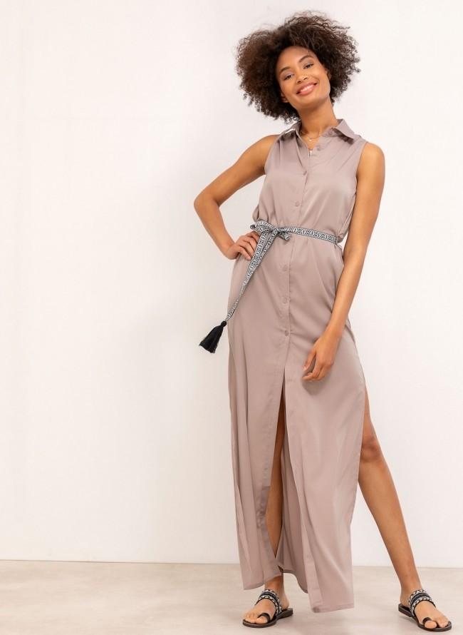 1f23b1133db0 Casual φόρεμα με λάστιχο στα μανίκια - Μπεζ - TheFashionProject