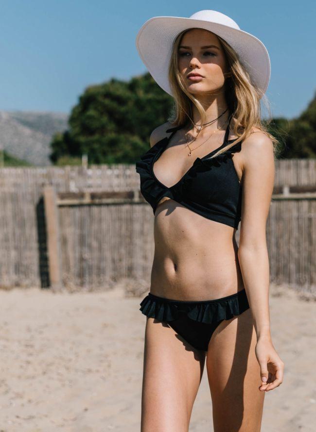 Σετ bikini με βολάν - Μαύρο