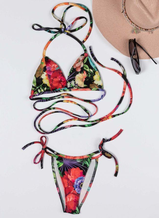 Σετ floral bikini - Μαύρο