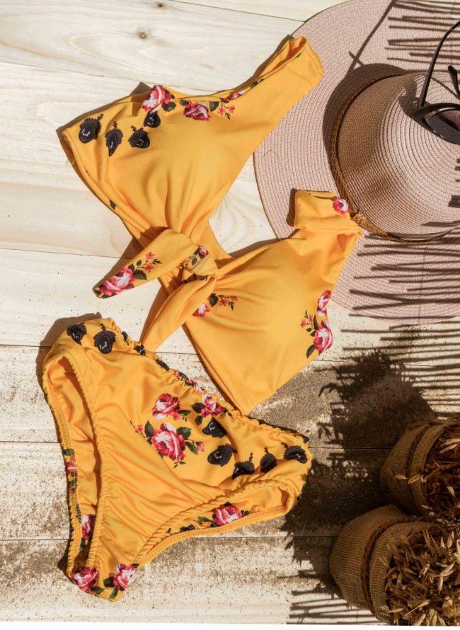 Σετ floral bikini με κόμπο - Μουσταρδί