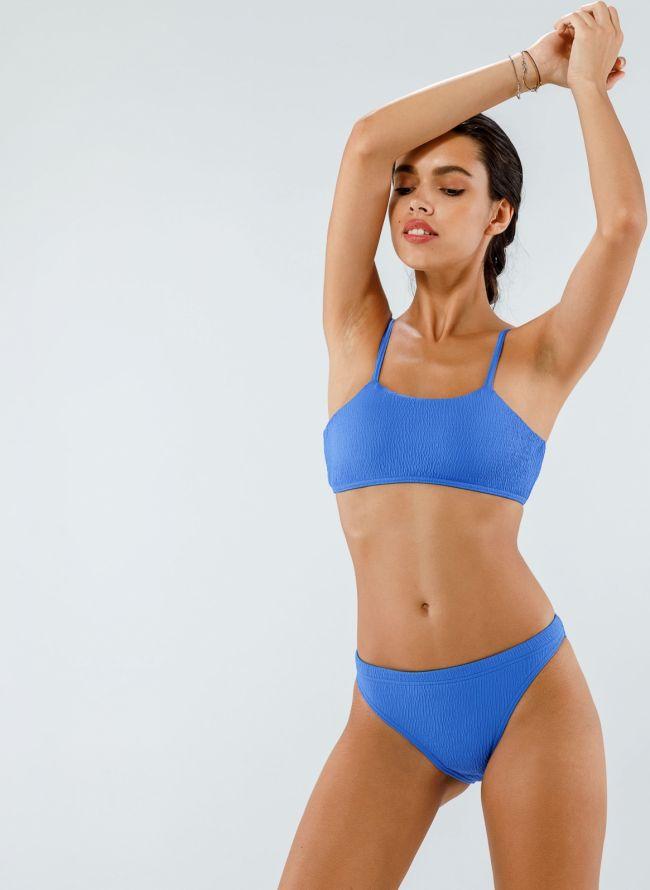 Σετ γκοφρέ bikini με top μπουστάκι - Μπλε