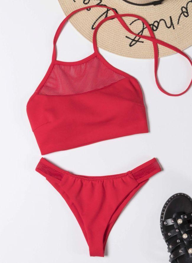 Σετ halter brazilian bikini - Κόκκινο