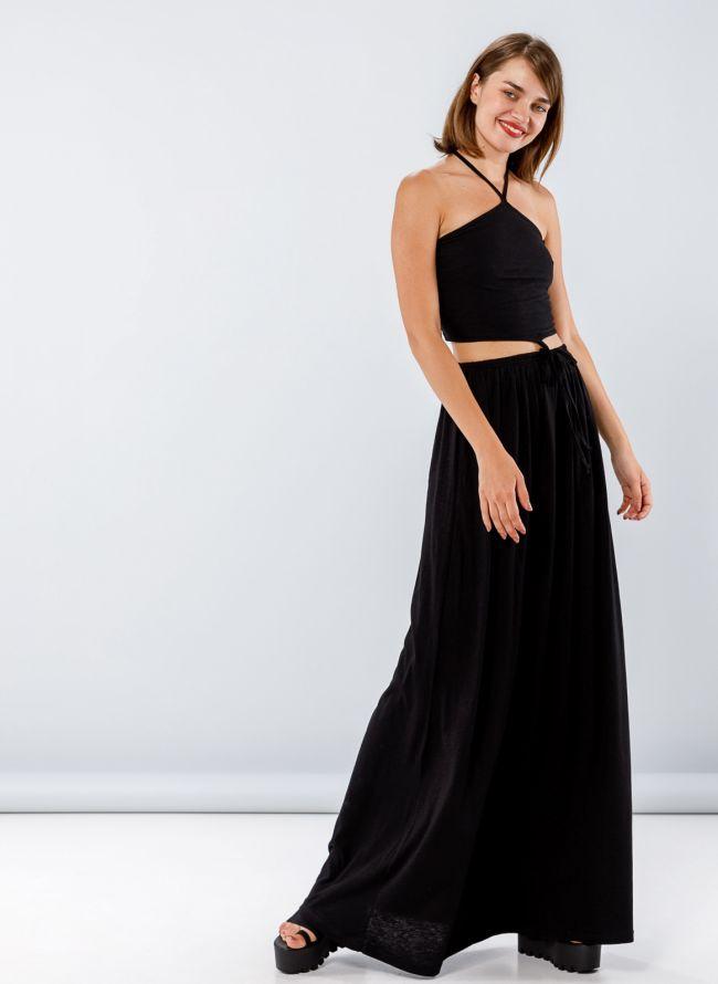 Maxi φόρεμα με άνοιγμα στη μέση - Μαύρο