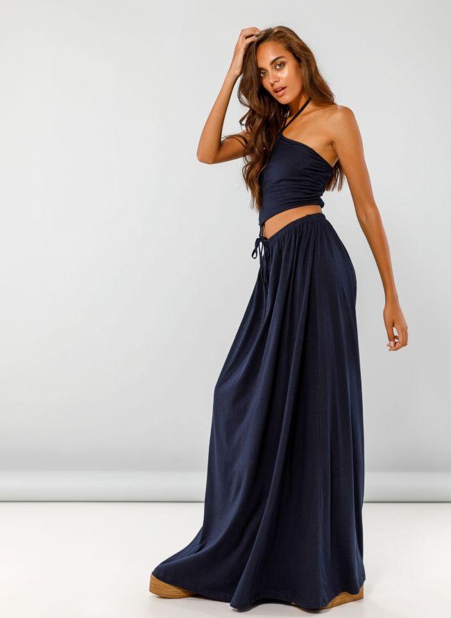 Maxi φόρεμα με άνοιγμα στη μέση - Μπλε σκούρο