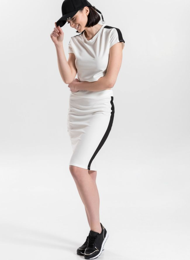 Σετ pencil φούστα και crop top με ρίγα - Λευκό