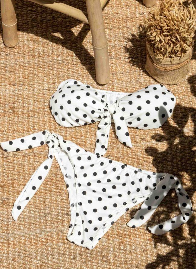 Σετ πουά bikini με κόμπο - Λευκό