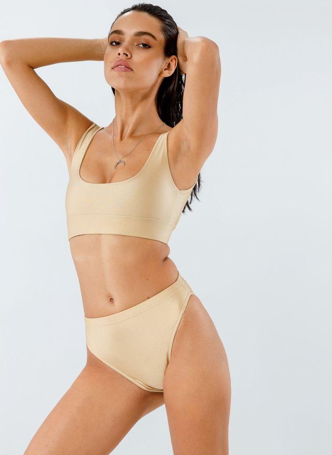 Σετ ψηλόμεσο bikini με αθλητικό top - Χρυσό