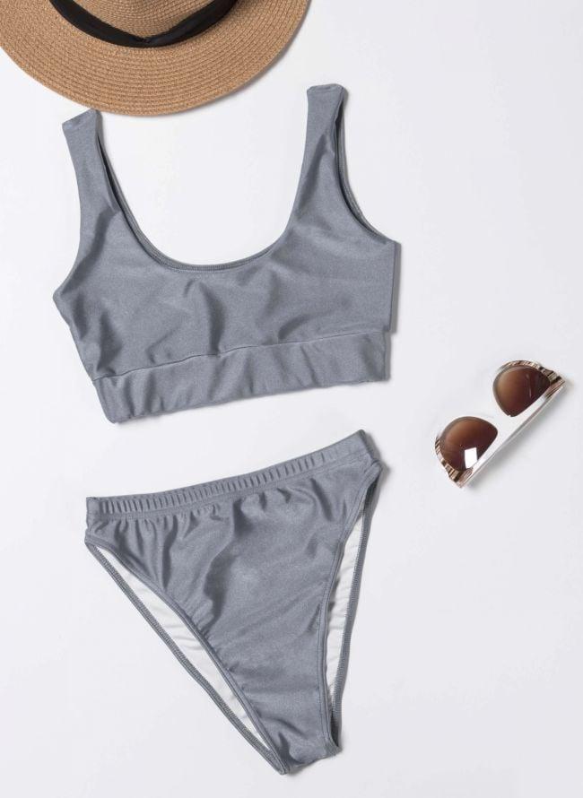 Σετ ψηλόμεσο bikini με αθλητικό top - Ασημί