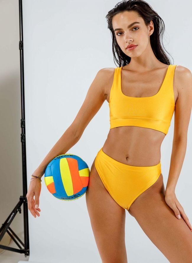 Σετ ψηλόμεσο bikini με αθλητικό top - Κίτρινο