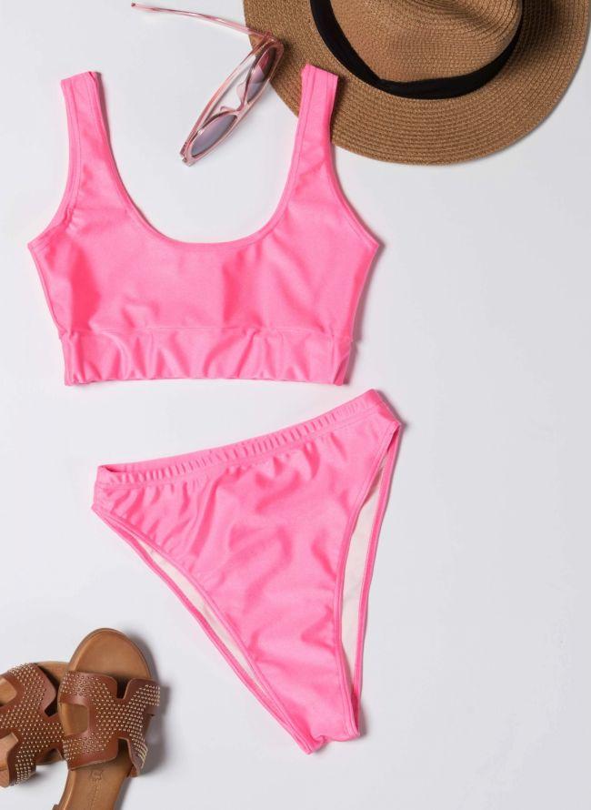 Σετ ψηλόμεσο bikini με αθλητικό top - Φούξια