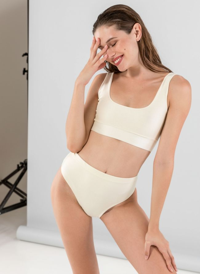 Σετ ψηλόμεσο bikini με αθλητικό top - Ζαχαρί