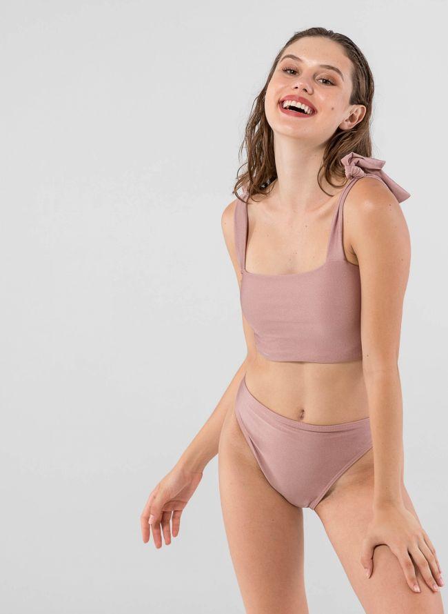 Σετ ψηλόμεσο bikini με δετούς ώμους - Nude