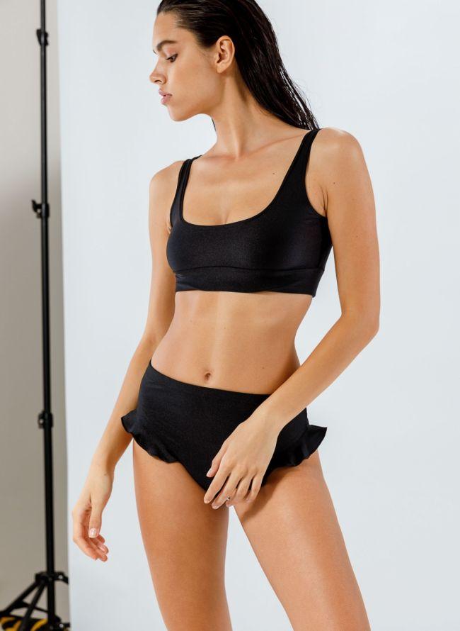 Σετ ψηλόμεσο bikini με βολάν - Μαύρο