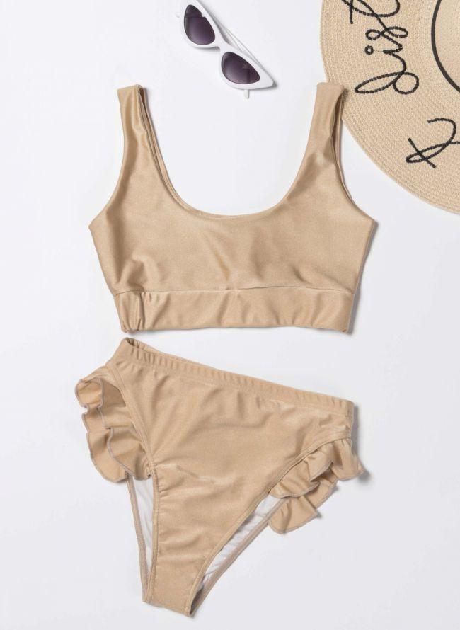 Σετ ψηλόμεσο bikini με βολάν - Χρυσό