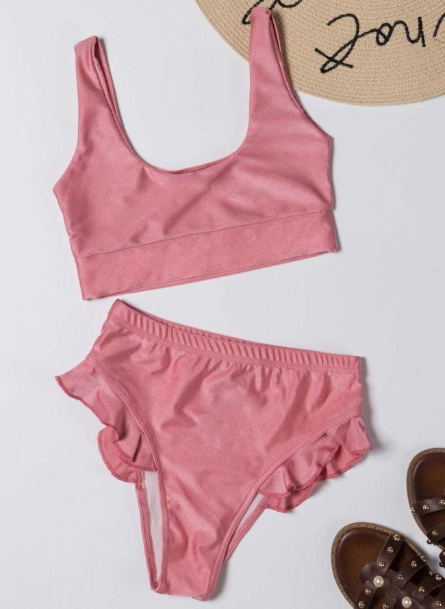 Σετ ψηλόμεσο bikini με βολάν - Ροζ