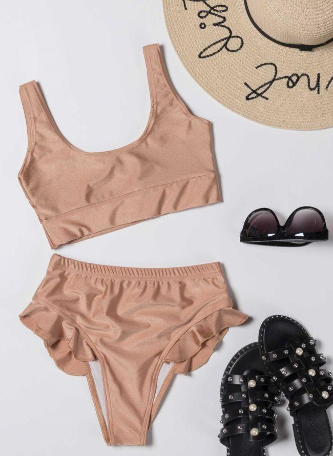 Σετ ψηλόμεσο bikini με βολάν - Σομόν