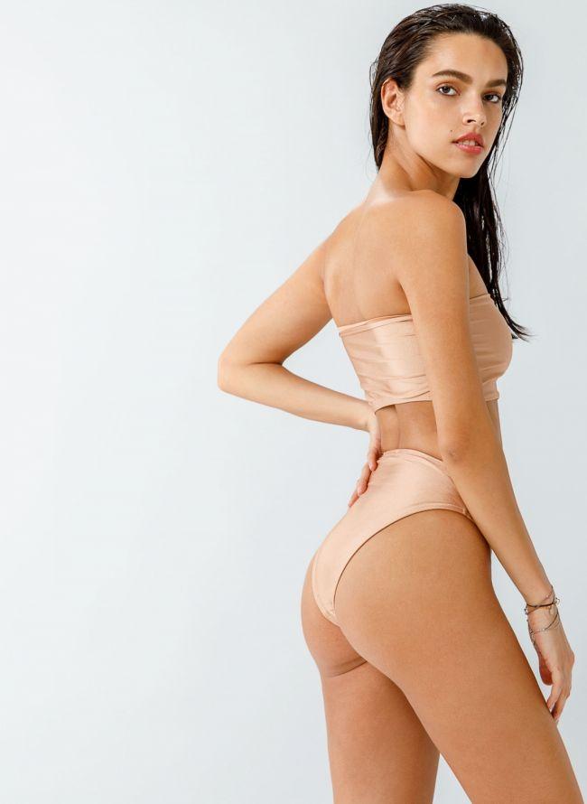 Σετ ψηλόμεσο brazilian bikini με μπούστο - Σομόν
