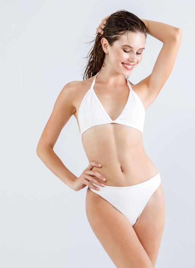 Σετ ψηλόμεσο brazilian ριπ bikini  - Λευκό