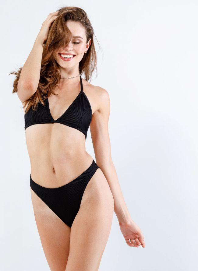 Σετ ψηλόμεσο brazilian ριπ bikini  - Μαύρο