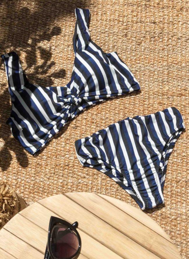 Σετ ριγέ bikini - Μπλε
