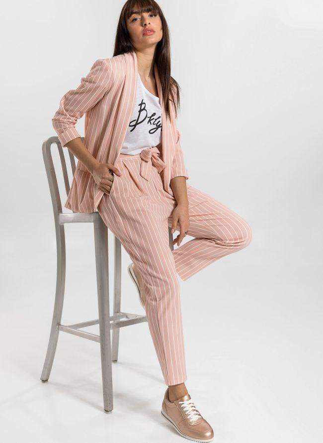 Σετ σακάκι και παντελόνι με ρίγες - Ροζ