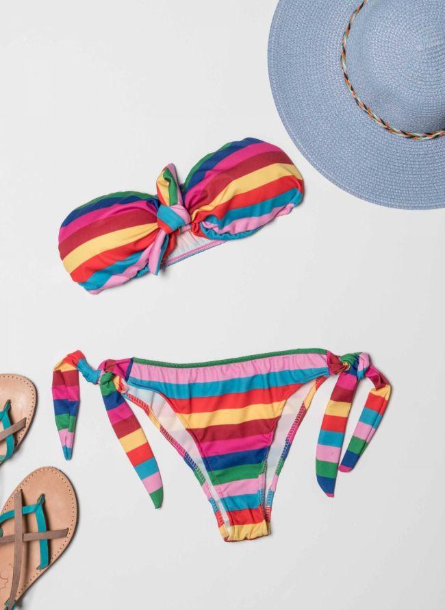 Σετ strapless bikini με πολύχρωμες ρίγες - Multi