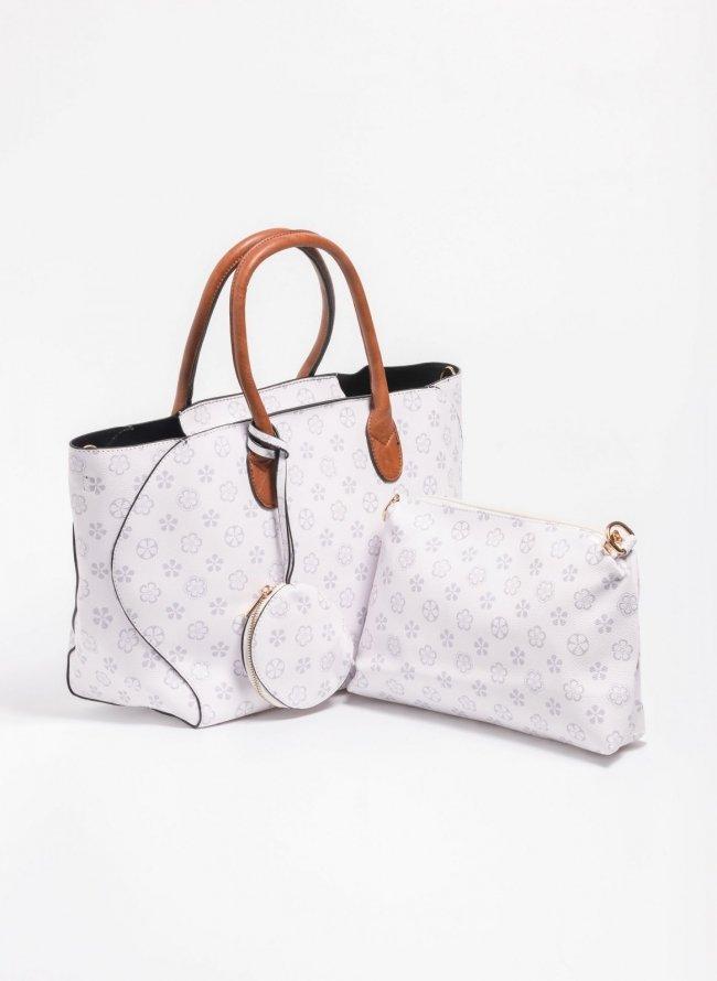 57ddc50272 Σετ τσάντες με pattern - Λευκό