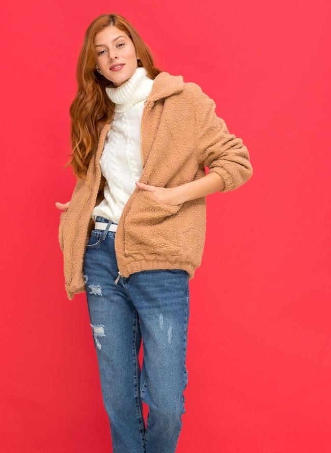 Κοτλέ jacket με γούνινη επένδυση - Ροζ - TheFashionProject 4c840ddd24e