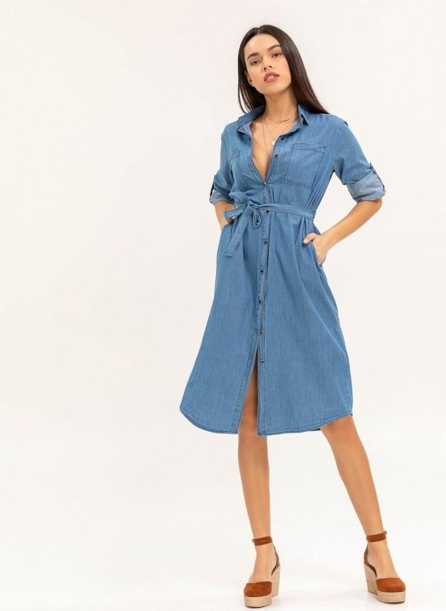 Shirt dress από denim ύφασμα - Μπλε jean 2441e199faf