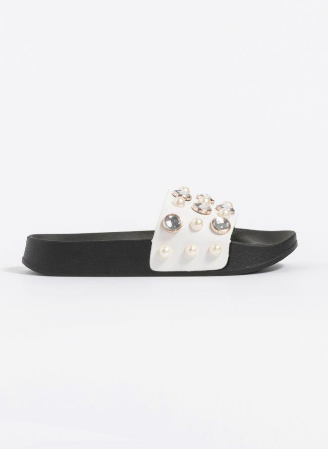 Slides με διάφανες πέτρες και πέρλες - Λευκό