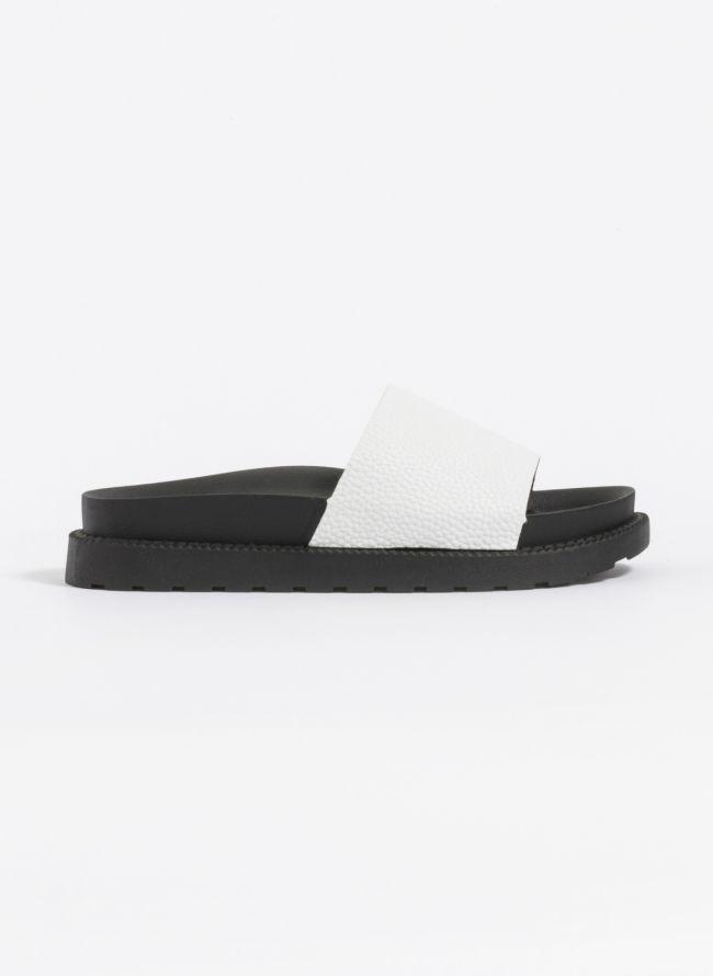 Slides με φαρδιά φάσα - Λευκό