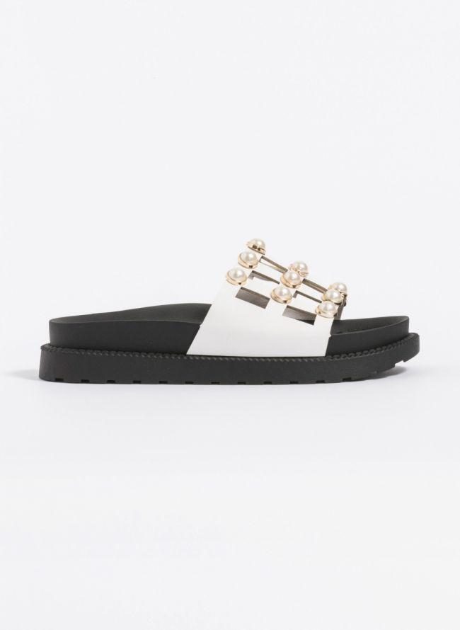 Slides με πέρλες - Λευκό