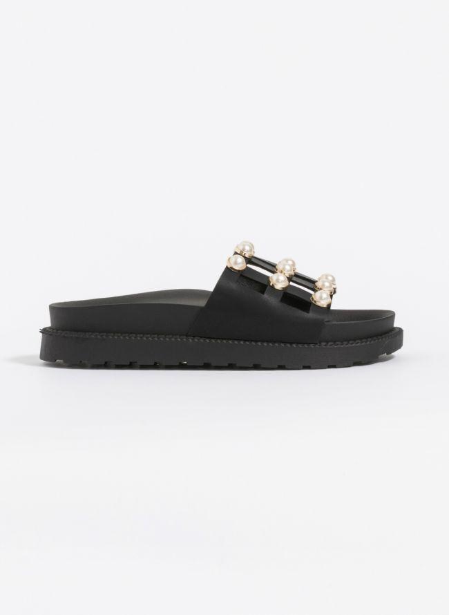 Slides με πέρλες - Μαύρο
